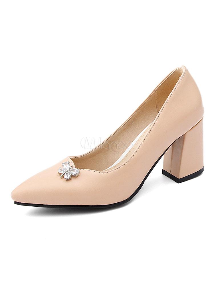 Zapatos de tacón medio estilo moderno para pasar por la noche de tacón gordo para aumentar la altura de PU de puntera puntiaguada Aa4OfKKU