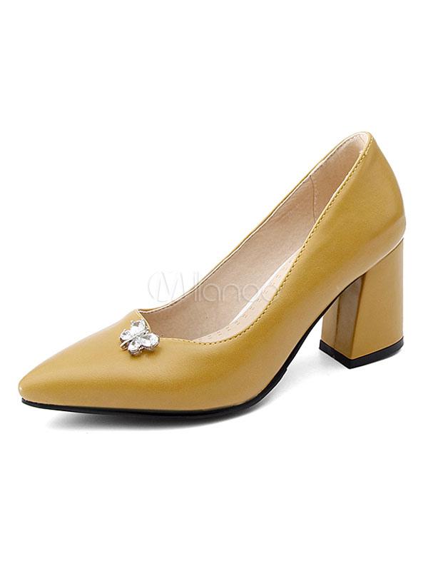 Zapatos de tacón medio estilo moderno para pasar por la noche de tacón gordo para aumentar la altura de PU de puntera puntiaguada fEkZoF