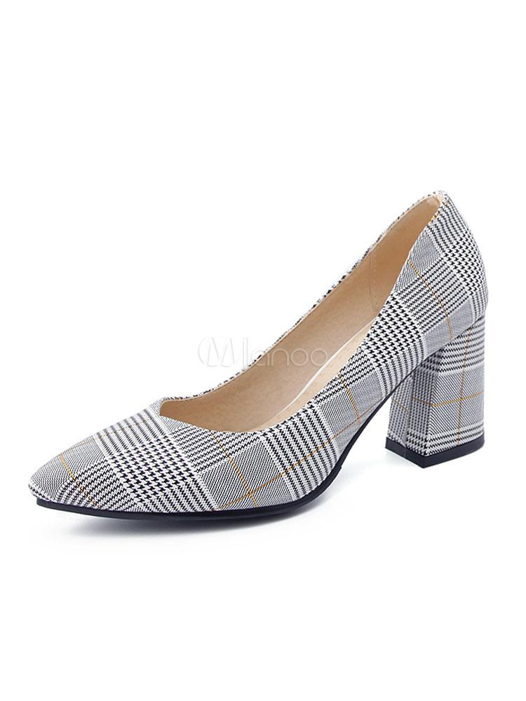 Zapatos de tacón medio de puntera puntiaguada de tacón gordo para aumentar la altura estilo modernopara pasar por la noche de tela qSocEPYV