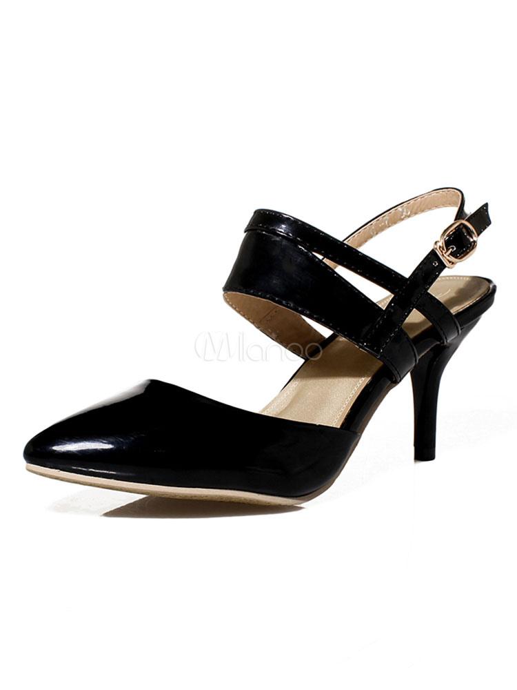 Zapatos de tacón medio estilo moderno para pasar por la noche de tacón de kitten para aumentar la altura de PU de puntera puntiaguada lEfy6