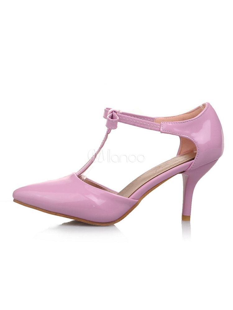 Zapatos de tacón medio estilo moderno para pasar por la noche de tacón de stiletto de PU de puntera puntiaguada 8sJ2e