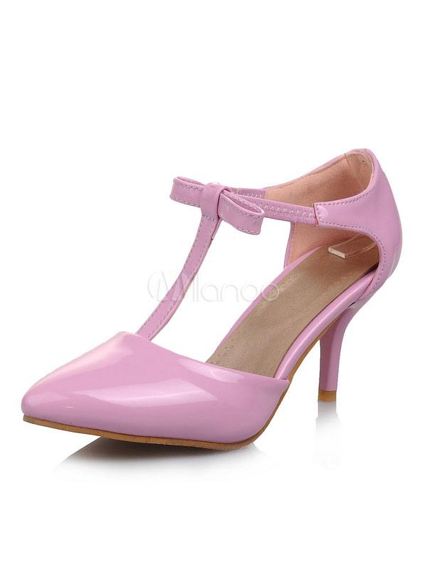 Zapatos de tacón medio estilo moderno para pasar por la noche de tacón de stiletto de PU de puntera puntiaguada KaVSHQu
