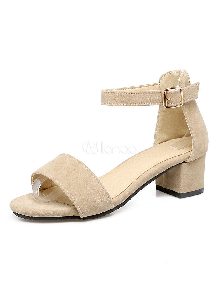 Buy Women Sandal Shoes Ecru White Suede Open Toe Buckle Detail Ankle Strap Sandals for $37.99 in Milanoo store