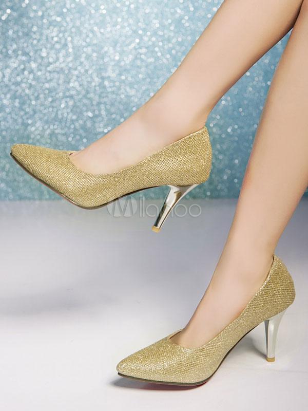 Zapatos de novia Talla grande de tacón de stiletto de puntera puntiaguada de tela brillante estilo moderno 7Q3fN