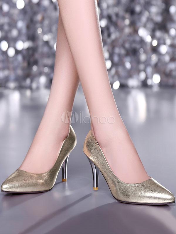 Zapatos de tacón medio de puntera puntiaguada de tacón de stiletto estilo modernopara pasar por la noche de PU l2QxQFm3
