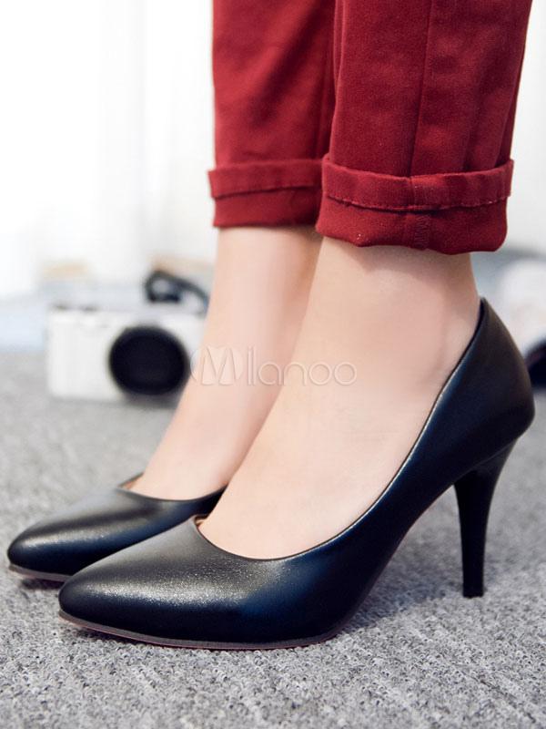 Zapatos de tacón medio estilo moderno Trabajo de tacón de stiletto para aumentar la altura de PU de puntera puntiaguada TkuwccgQg
