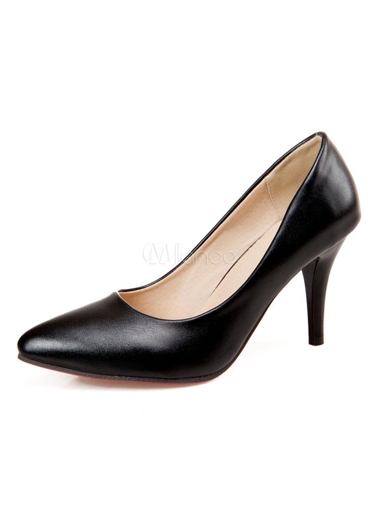 Zapatos de tacón medio estilo moderno Trabajo de tacón de stiletto para aumentar la altura de PU de puntera puntiaguada MljEiBjdYf