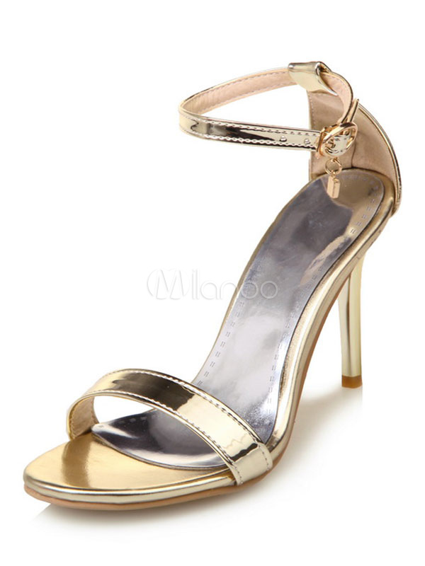 Buy High Heel Sandals Gold Open Toe Ankle Strap Sandal Shoes Women Shoes for $38.24 in Milanoo store