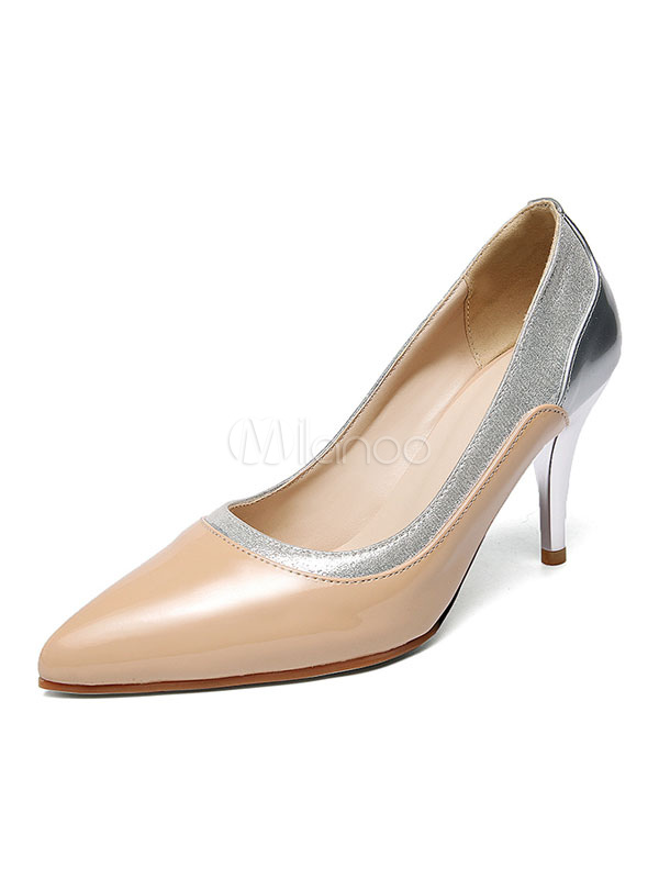 Buy Apricot High Heels Pointed Toe Slip On Pumps Women Dress Shoes for $37.99 in Milanoo store
