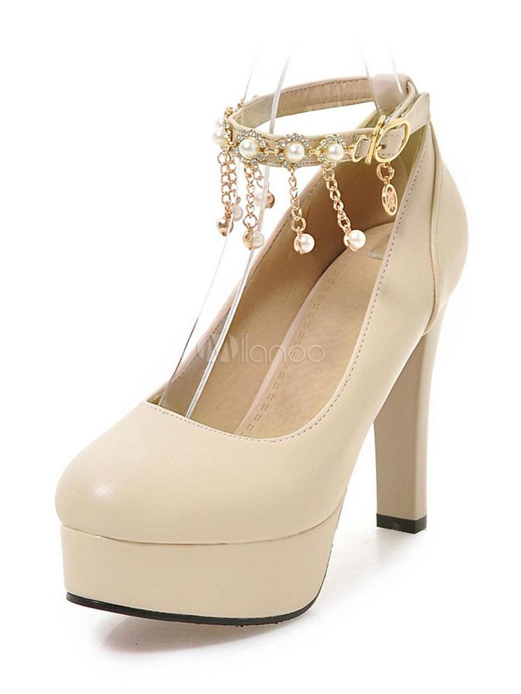 Zapatos de plataforma de PU con perlas Color liso estilo moderno sSLQ8uP8ND