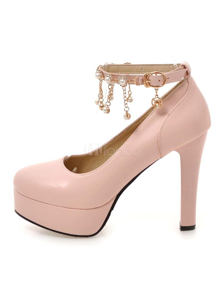 Zapatos de plataforma de PU con perlas Color liso estilo moderno Hq57P