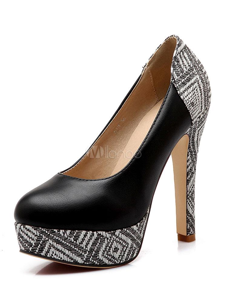 Zapatos de plataforma de PU con dibujo retazados estilo moderno PQFLR