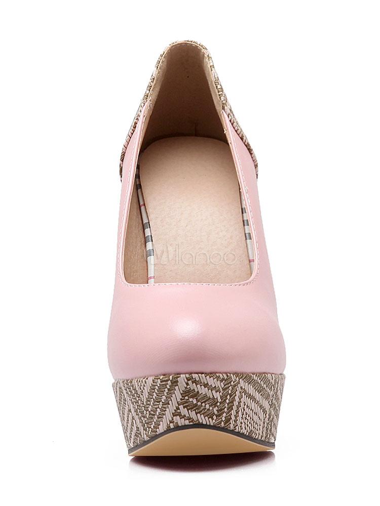 Zapatos de plataforma de PU con dibujo retazados estilo moderno 7UV1N