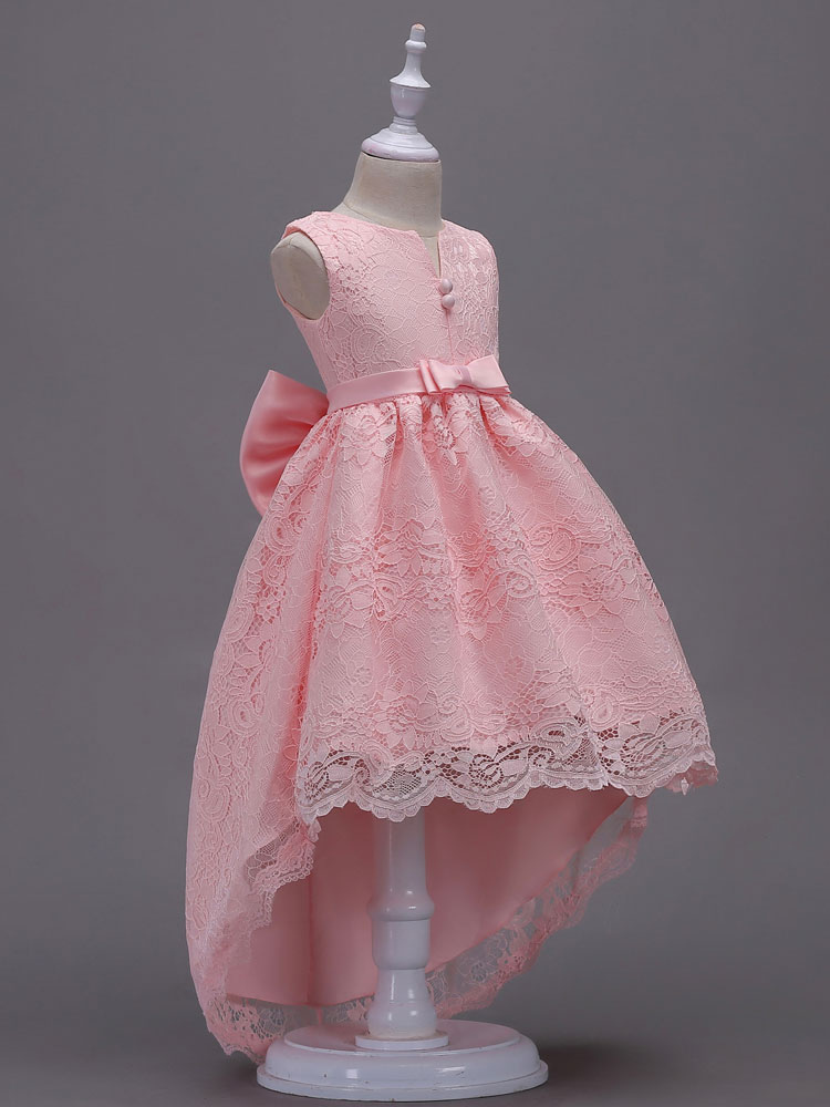 Lace Flower Girl Dresses Pink High Low Ball Gowns