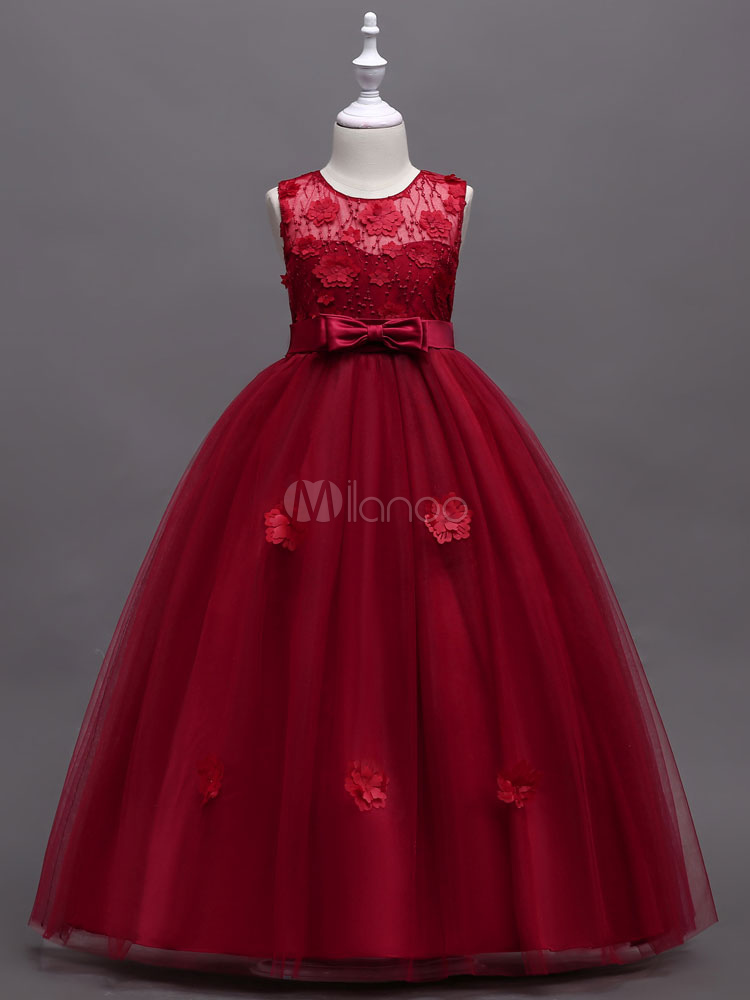 Flower Girl Dresses Red Ball Gowns Kids Applique Bow Sash Tulle Long ...