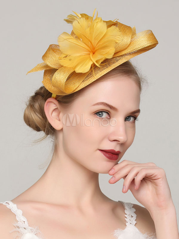 16084b6a6844c Yellow Fascinator Hat Wedding Party Flower Headpieces Feather Bridal Hair  Accessories-No.1 ...