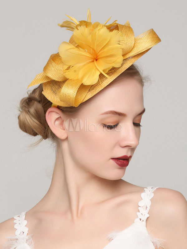 ad4c5079614fb ... Yellow Fascinator Hat Wedding Party Flower Headpieces Feather Bridal  Hair Accessories-No.5 ...