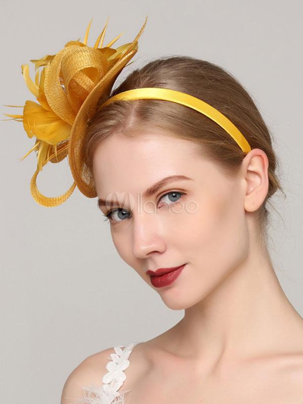Yellow fascinator hat wedding party flower headpieces feather bridal yellow fascinator hat wedding party flower headpieces feather bridal hair accessories no4 mightylinksfo