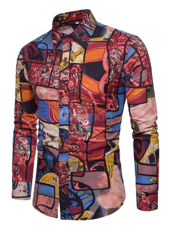 Red Men Shirt Artwork Print Linen Top Long Sleeve Casual Shirt