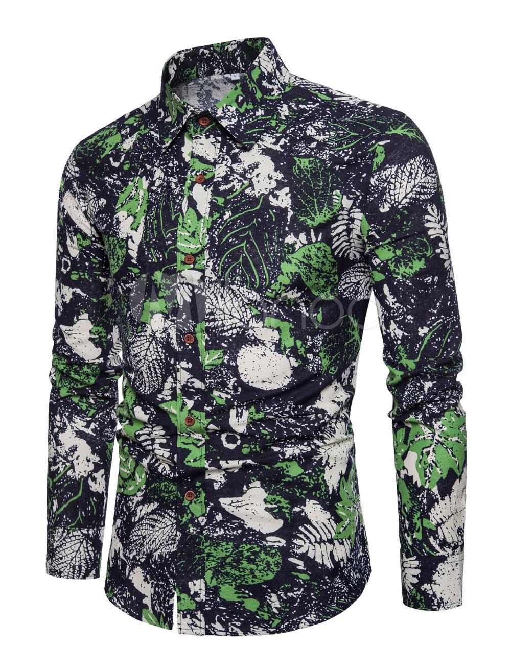 Men Print Shirt Turndown Collar Long Sleeve Linen Spring Shirt Black
