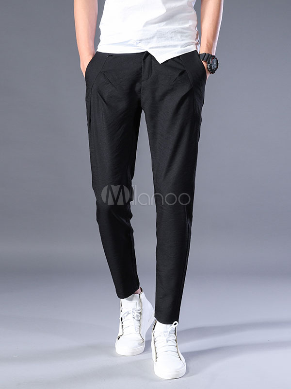 Buy Black Casual Pant Ruched Harem Style Men Cropped Pant for $35.99 in Milanoo store