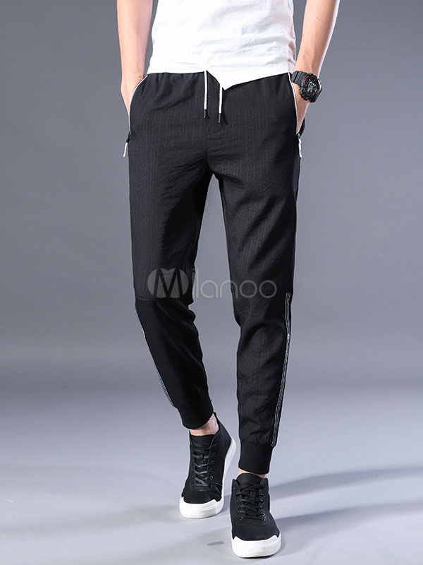Buy Pant For Men Patchwork Drawstring Ankle Band Harem Style Cotton Black Casual Pant for $35.99 in Milanoo store