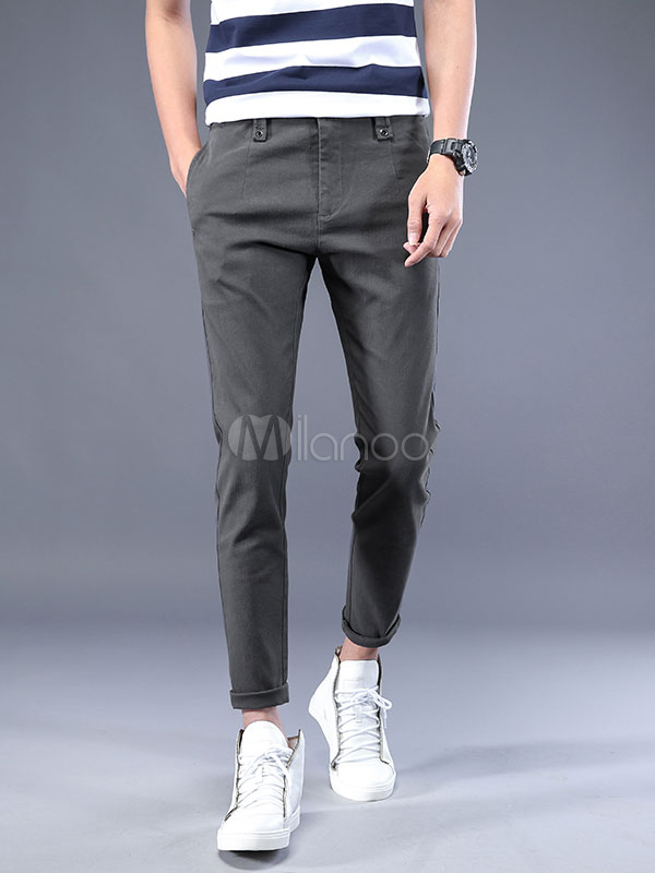 Men Cropped Pant Grommet Cotton Grey Trousers Straight Leg Casual Pant