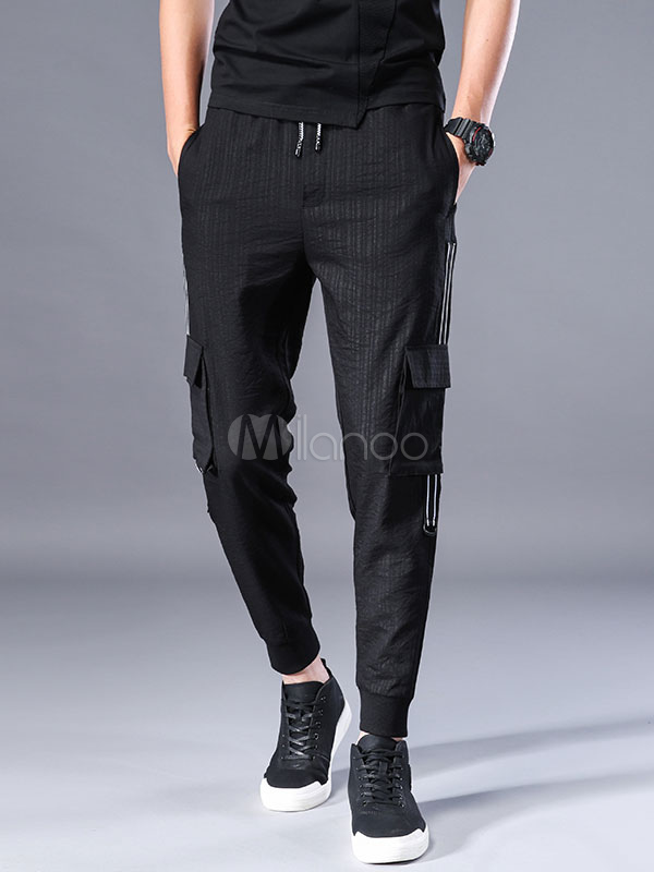 Black Cropped Pant Patchwork Pocket Ankle Band Harem Style Casual Men Pant