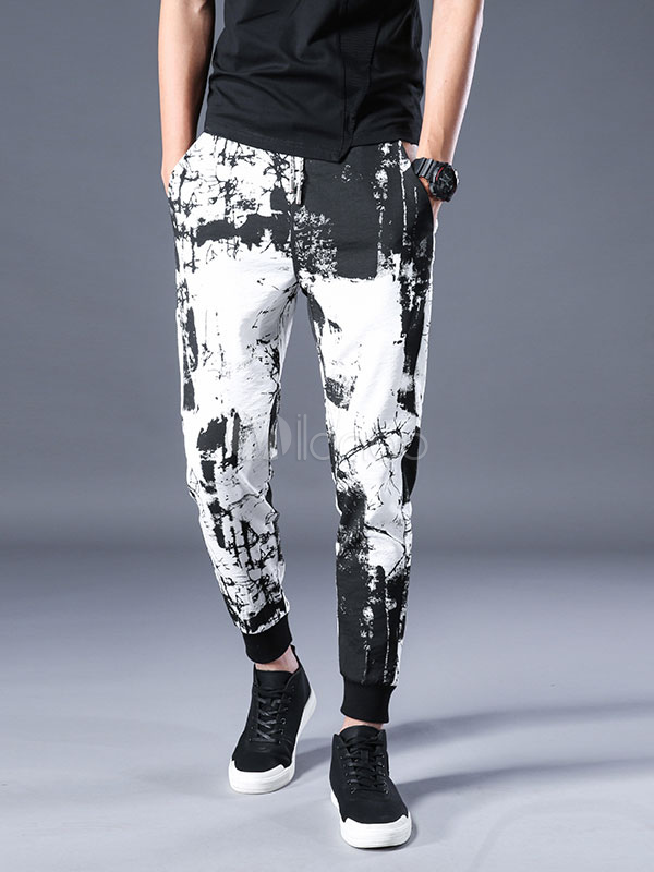 Buy Men Harem Pant Artwork Print Ankle Band White Casual Pant Cotton Cropped Pant for $35.99 in Milanoo store