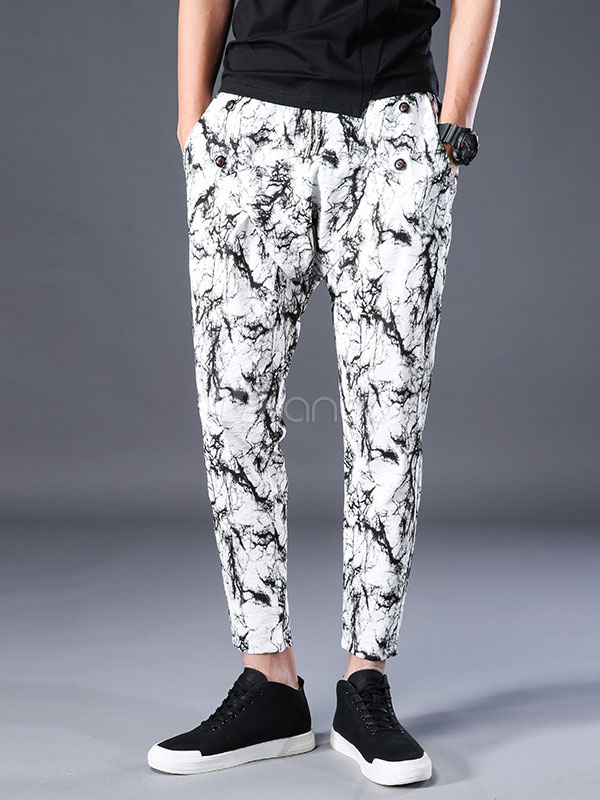 Buy White Casual Pant Artwork Print Harem Style Cotton Men Pant for $35.99 in Milanoo store