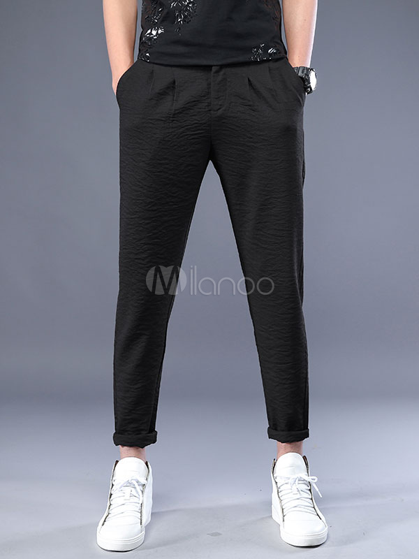 Black Casual Pant Harem Style Rayon Men Cropped Pant