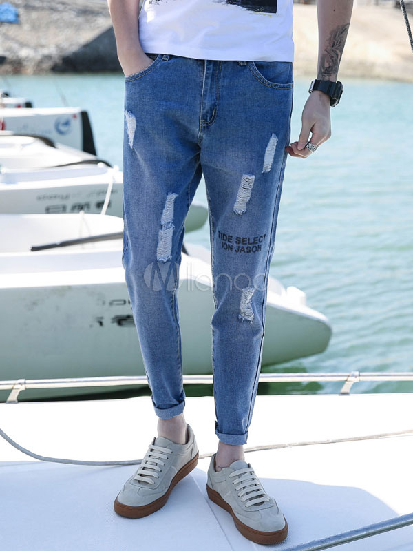 Buy Men Ripped Jean Letter Print Distressed Cropped Pant Light Blue Straight Leg Denim Jeans for $28.79 in Milanoo store