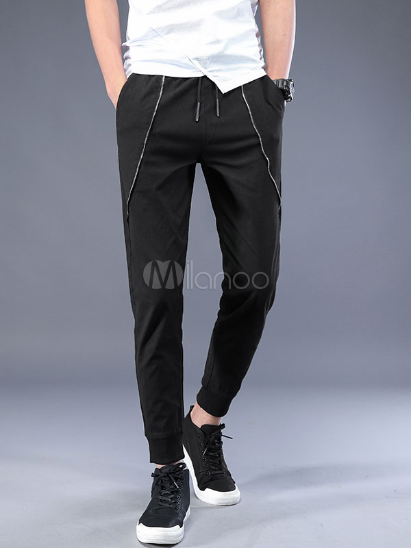 Buy Black Pant Casual Pipe Rayon Drawstring Ankle Band Harem Style Pant For Men for $35.99 in Milanoo store