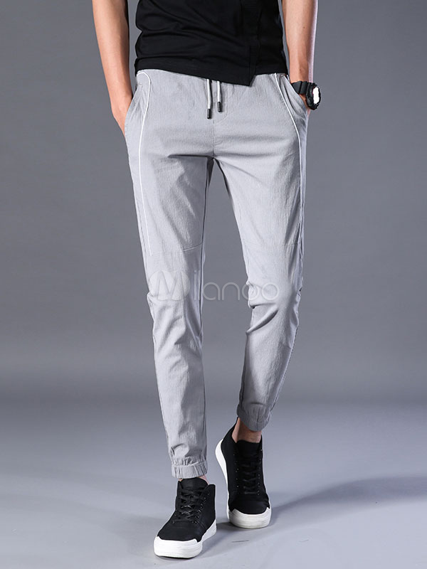 Buy Men Pant Casual Drawstring Ankle Band Harem Style Cropped Pant Rayon for $35.99 in Milanoo store