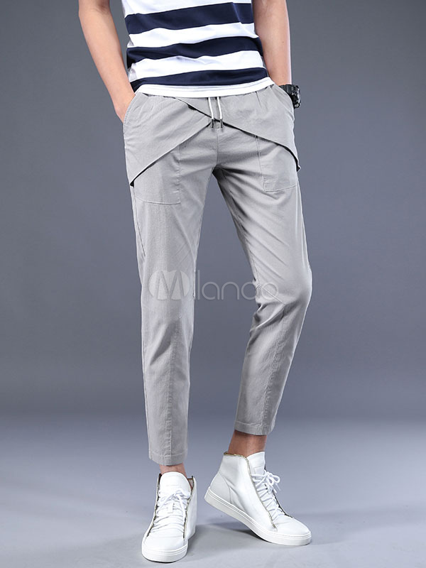 Buy Grey Cropped Pant Designed Patch Drawstring Rayon Straight Leg Men Casual Pant for $35.99 in Milanoo store