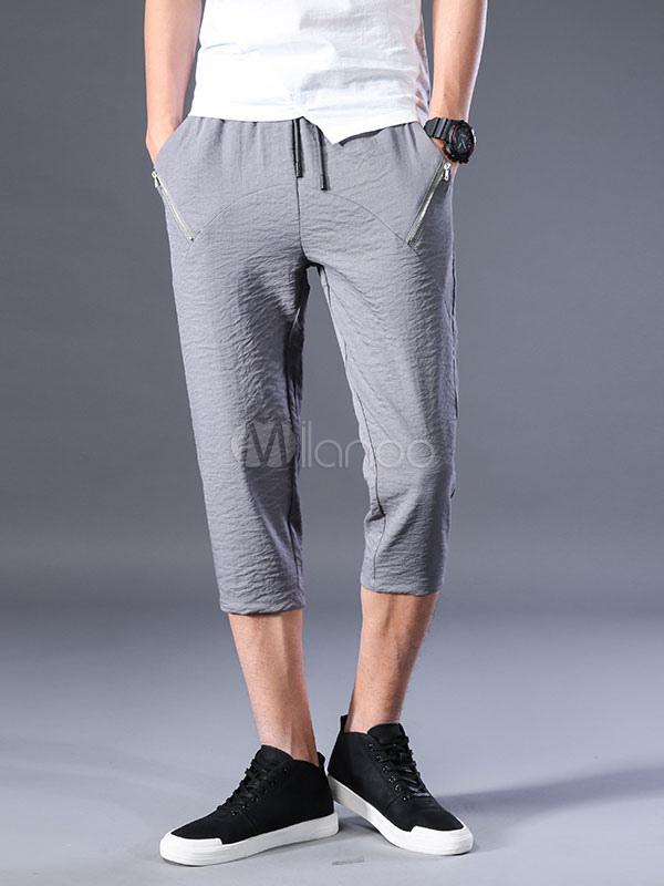 Buy Casual Men Shorts Rayon Zipper Drawstring Grey Capri Pants for $35.99 in Milanoo store