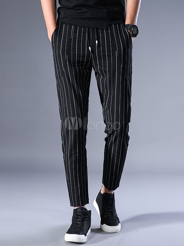 Buy Men Jogger Pant Stripe Cotton Trousers Drawstring Harem Style Casual Cropped Pant Black for $35.99 in Milanoo store