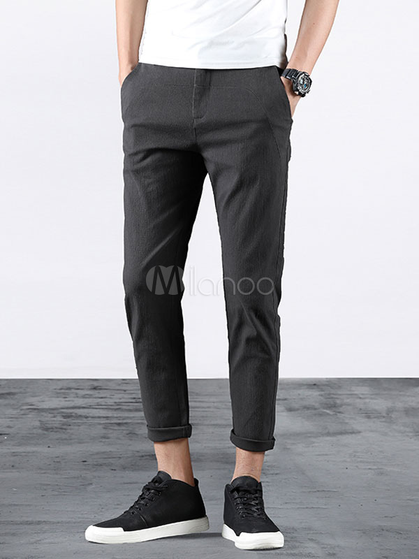 Buy Men Pant Cotton Grey Straight Leg Cropped Pant Casual for $35.99 in Milanoo store