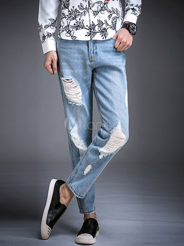 Buy Cropped Denim Jeans Blue Distressed Ripped Jean Straight Leg Pant For Men for $31.49 in Milanoo store