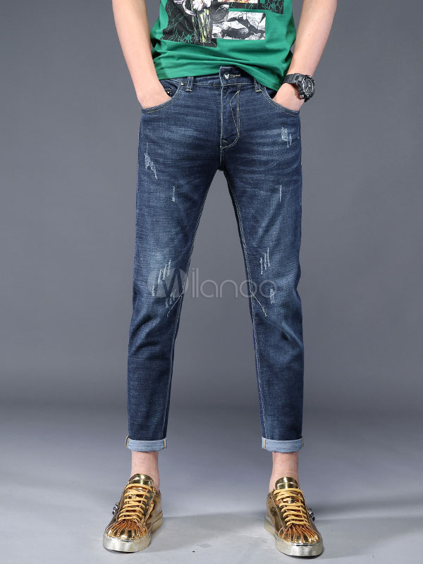 Buy Straight Leg Jean Distressed Denim Jeans Cropped Pant For Men for $33.29 in Milanoo store