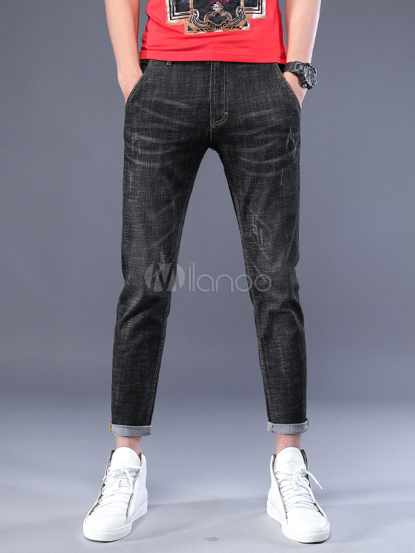 Buy Black Cropped Pant Scratch Straight Leg Denim Jeans For Men for $35.99 in Milanoo store