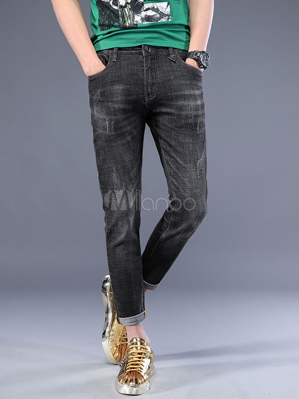 Buy Cropped Pant Denim Wash Distress Scratch Black Straight Leg Jeans For Men for $34.19 in Milanoo store