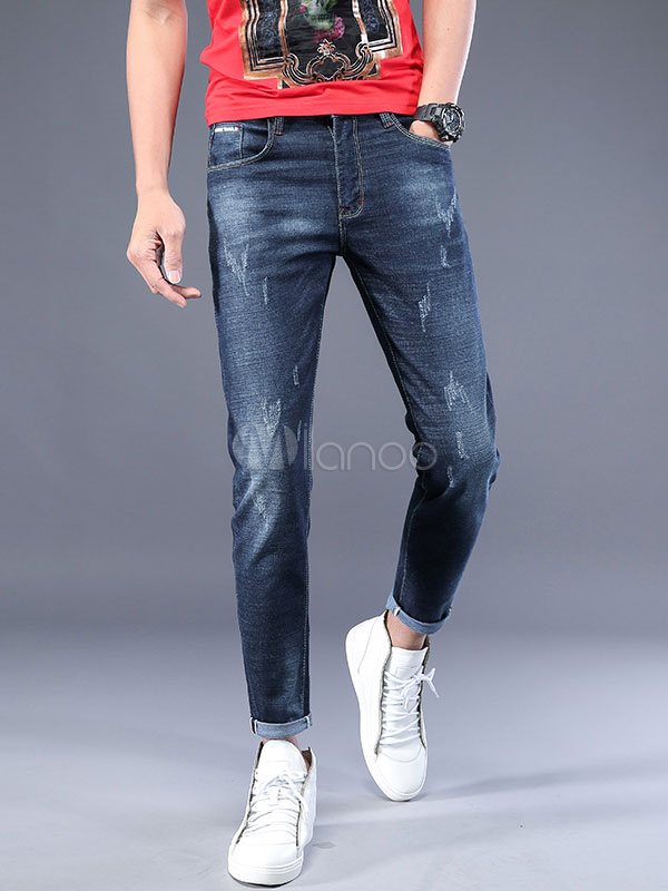 Buy Straight Leg Jeans Scratch Distressed Blue Men Denim Pant for $34.19 in Milanoo store