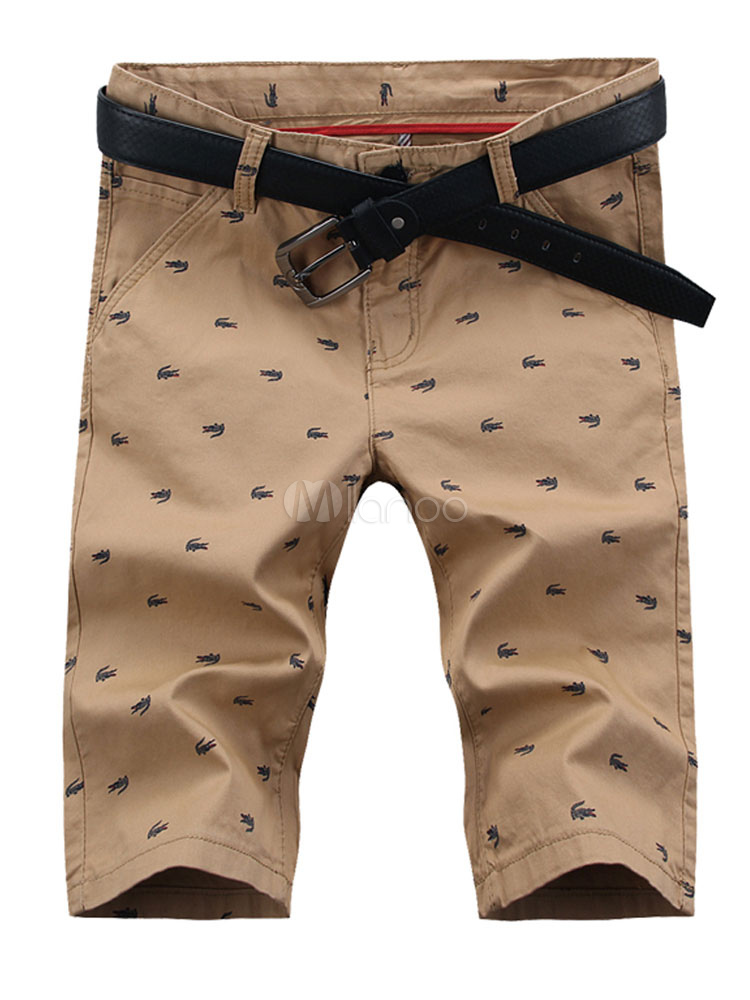 Khaki Men Pant Print Zipper Cotton Casual Shorts