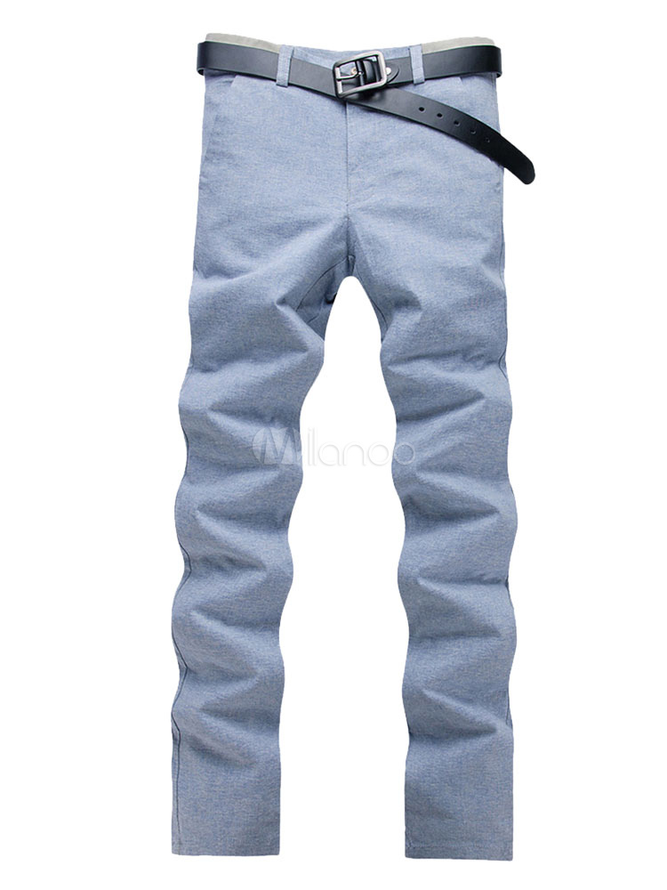 Buy Light Blue Pant Cotton Straight Leg Men Casual Pant for $26.99 in Milanoo store