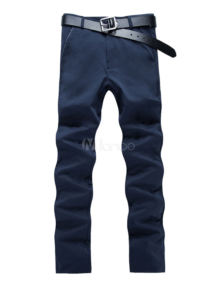 Buy Navy Blue Pant Cotton Straight Leg Casual Pant For Men for $26.99 in Milanoo store