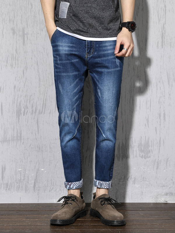 Buy Cropped Men Jean Patchwork Distressed Scratch Straight Leg Blue Jeans for $29.69 in Milanoo store
