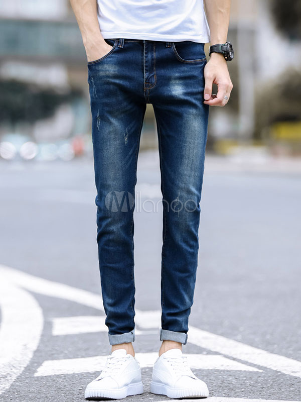 Buy Straight Leg Pant Wash Distressed Scratch Jean For Men Deep Blue Denim Jeans for $30.59 in Milanoo store