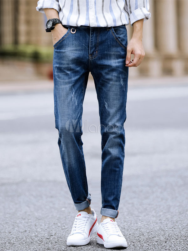 Buy Blue Men Jean Distressed Scratch Straight Leg Denim Jeans for $33.29 in Milanoo store