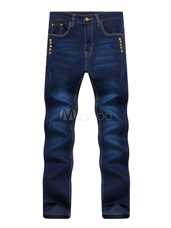 Buy Straight Leg Jeans Distressed Metallic Button Deep Blue Denim Jean For Men for $26.99 in Milanoo store